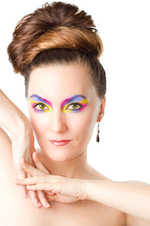 exotic professional makeup woman on white background  photo