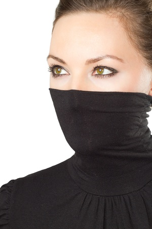 face of stylish woman with green eyes on a white background  photo