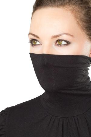le visage de la femme élégante avec des yeux verts sur un fond blanc Banque d'images