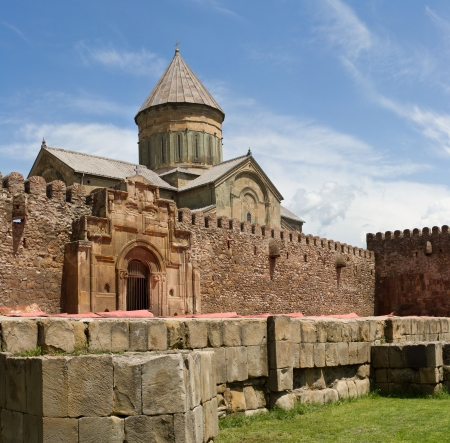 panorama of old Orthodox cathedral in Mtskheta near Tbilisi -  the most famous symbol of christianity, Georgia