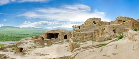 panorama of medieval cave city monastery and nature in Vardzia,Georgia,Transcaucasus