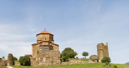 Panorama of ruins of Jvari, which is a Georgian Orthodox monastery of the 6th century near Mtskheta  World Heritage site  - the most famous symbol of  christianity in Georgia Stock Photo - 13768180
