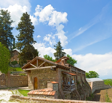 panorama of historical medieval  Shuamta monastery in Alazani Valley, Republic of Georgia, close to Tbilisi