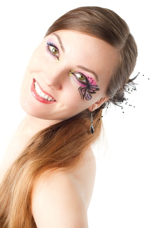 portrait of  woman with body art butterfly on face and long hair on white background  photo