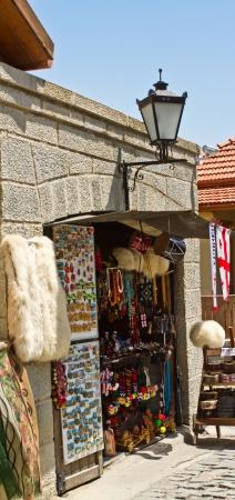Street market in Tbilisi, Georgia where you can to buy the colorful georgian folk art items   photo