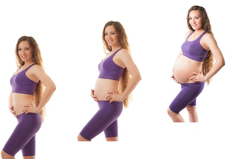 Pregnant woman fitness at different stages of pregnancy on white background  The concept of Sport and Health Stock Photo - 14634283