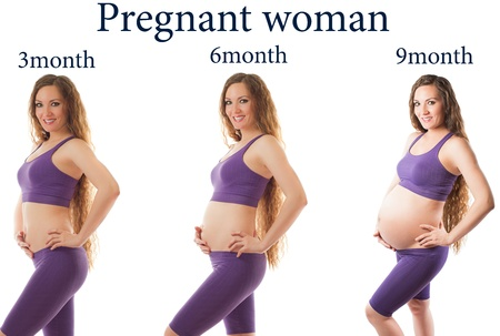 Pregnant woman fitness at different stages of pregnancy on white background  The concept of Sport and Health