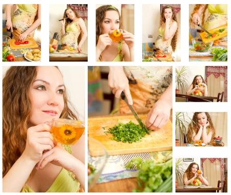 Collage of pregnant woman on kitchen with fresh vegetables The concept of food and  healthy lifestyle