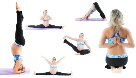 Collage of pregnant fitness woman make stretch on yoga and pilates pose on white background The concept of Sport and Health photo