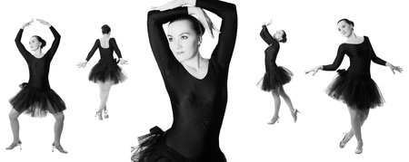 Collage of woman ballerina dancer standing pose on isolated white background  The concept of Sport and Health photo