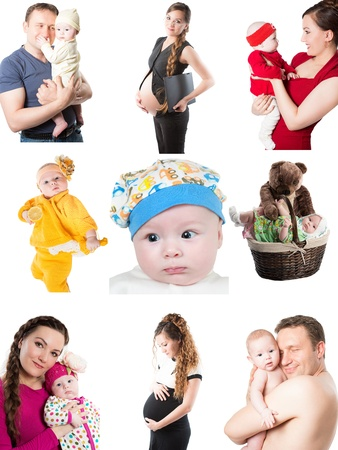 Collage of different pictures of babies and father, mother  Family happy moments photo