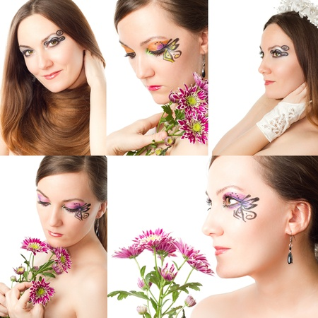 Collage  Beautiful young women with stylish creative makeup and body art on white background  Makeup, fashion, beauty  photo