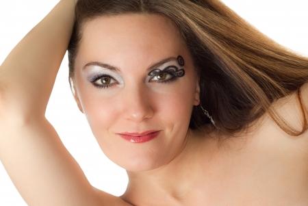 Beautiful young women with stylish creative makeup and body art on white background  Makeup, fashion, beauty Stock Photo - 17593816