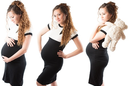 Collage of happy pregnant woman mother on white background  The concept of Beautiful and Health photo