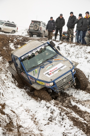 raid: Almaty, Kazakhstan - February 21, 2013  Off-road racing on jeeps, Car competition,  ATV  Traditional race  Kaskelen gullies  Cup  the Republic of Kazakhstan trophy-raid