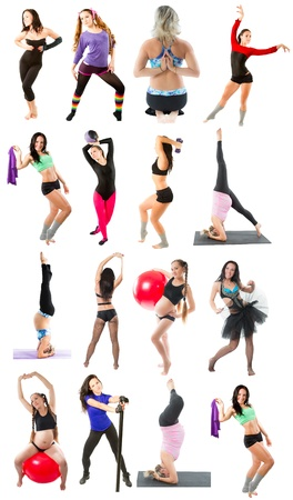 Young woman exercising collage - yoga,fitness,pilates,aerobics on isolated white background photo