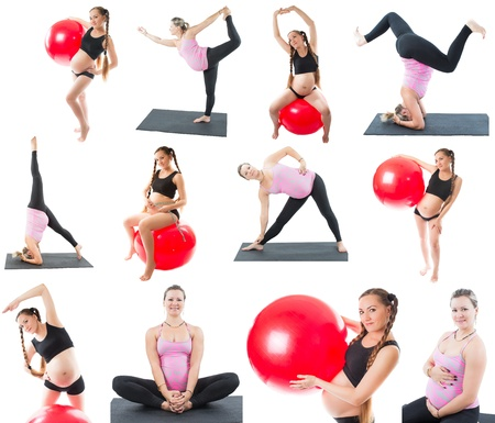 Collage of regnant fitness two women make stretch on yoga and pilates pose on white background  The concept of Sport and Health photo