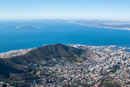 bay: Scenic View in Cape Town, Table Mountain, South Africa  from an aerial perspective
