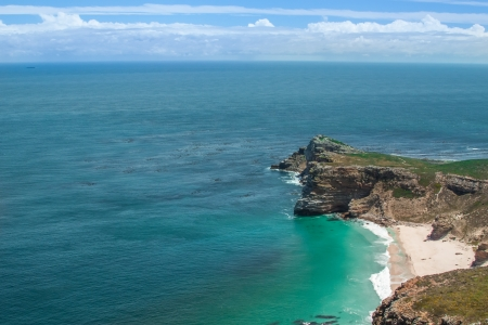 acute angle: Cape of Good Hope. Cape Peninsula Atlantic ocean. Cape Town. South Africa view from Cape Point Stock Photo