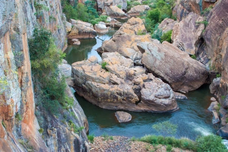 Blyde River Canyon,South Africa, Mpumalanga, Summer  Landscape,  red rocks and water Stock Photo - 20111845