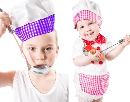 Children cook boy and girl wearing a chef hat with  pan isolated on white background The concept of healthy food and childhood