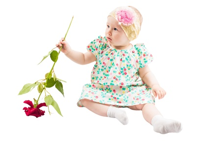 tot: Pretty little child girl  with flower rose  isolated on white background Stock Photo