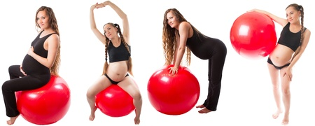 Collage of Pregnant fitness woman doing exercise on fitball on white background   The concept of Sport and Health photo