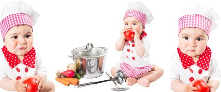 Collage of Baby girl wearing a chef hat with vegetables and pan. isolated on white background.The concept of healthy food and childhood photo