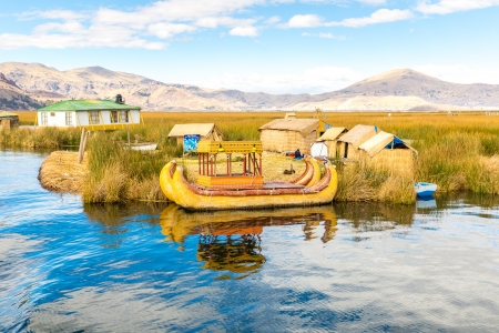 lake dwelling: Traditional reed boat lake Titicaca,Peru,Puno,Uros,South America