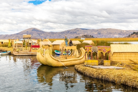 lake dwelling: Traditional reed boat lake Titicaca,Peru,Puno,Uros,South America,Floating  Islands,natural layer about one to two meters thick that support islands