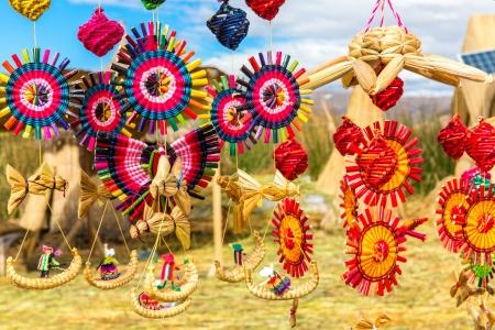 peru: Souvenir from reed on Floating islands Titicaca lake, Peru,South America