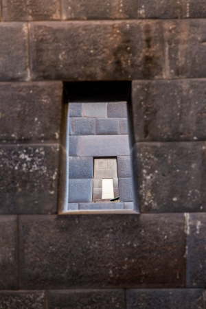 Inca Wall in ancient city of Machu Picchu, Peru, South America.Example of  polygonal masonry  and skill photo