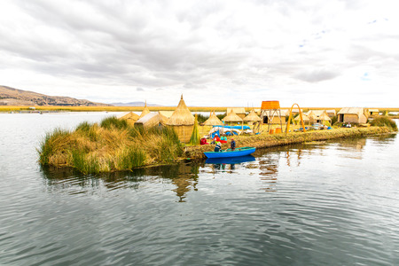 Traditional reed boat lake Titicaca,Peru,Puno,Uros,South America,Floating  Islands,natural layer about one to two meters thick that support islands