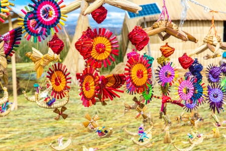 Souvenir from reed on Floating islands Titicaca lake, Peru,South America.