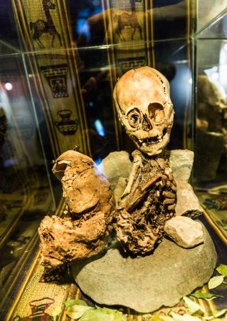 mummification: Embalmed mummy and skull in Peru  Bones at Chauchilla archeological site, Nazca, South America Editorial