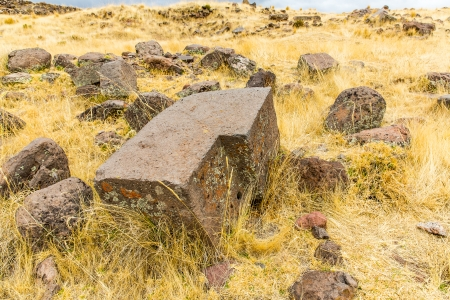 funerary: Funerary towers and ruins in Sillustani, Peru,South America- Inca prehistoric ruins near Puno,Titicaca lake area.