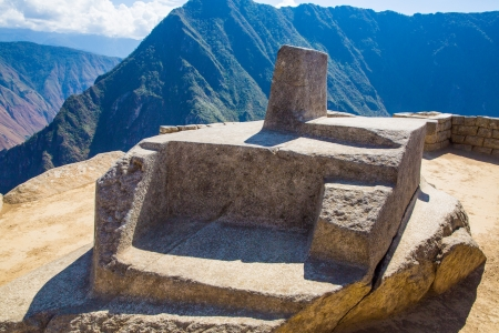 peru architecture: Inca Wall in Machu Picchu, Peru, South America. Example of polygonal masonry. The famous 32 angles stone in ancient Inca architecture.
