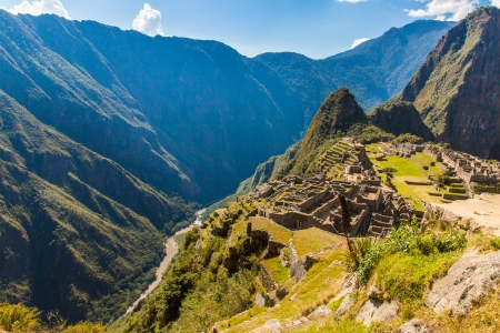 sacred valley: Mysterious city - Machu Picchu, Peru,South America. The Incan ruins and terrace. Example of  polygonal masonry and skill Stock Photo