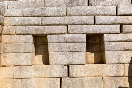 inca architecture: Inca Wall in Machu Picchu, Peru, South America  Example of polygonal masonry  The famous 32 angles stone in ancient Inca architecture  Stock Photo