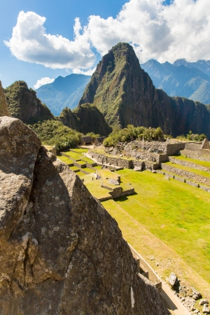 incan: Mysterious city - Machu Picchu, Peru,South America  The Incan ruins and terrace  Example of  polygonal masonry and skill