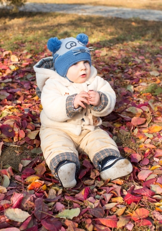 Happy child boy is playing with leaves in autumn park  The concept of childhood and fall  photo
