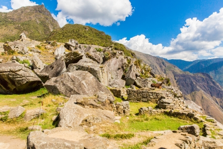 incan: Mysterious city - Machu Picchu, Peru,South America. The Incan ruins and terrace. Example of  polygonal masonry and skill Stock Photo
