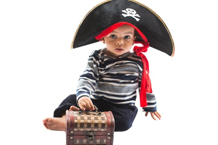 African american child boy in costume pirate on white background  Baby Halloween Fancy Costume and holiday  Stock Photo