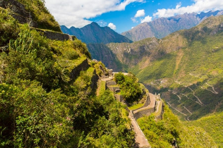 sacred valley: Mysterious city - Machu Picchu, Peru,South America  The Incan ruins and terrace  Example of  polygonal masonry and skill
