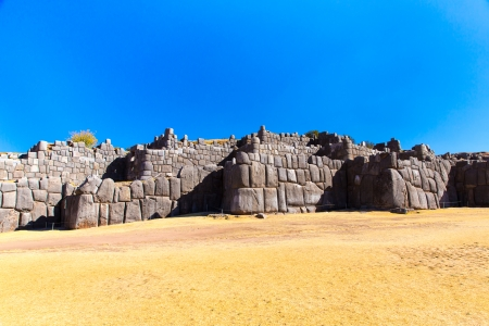 inca architecture: Inca Wall in SAQSAYWAMAN, Peru, South America. Example of polygonal masonry. The famous 32 angles stone in ancient Inca architecture.
