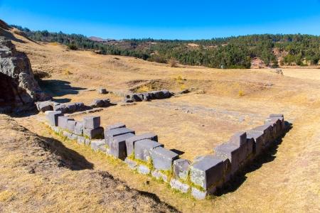archaeological complex: Inca Ruins - Saqsaywaman, Peru, South America. Archaeological complex, Cuzco. Example of polygonal masonry, 12 sided Hatunrumiyoc stone Stock Photo