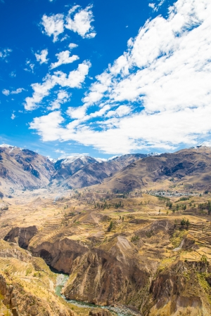 the deepest: Colca Canyon, Peru,South America.  Incas to build Farming terraces with Pond and Cliff. One of deepest canyons in world Stock Photo