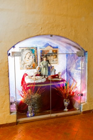 plaza: Altar and icons in old church in Arequipa, Peru, South America. Arequipas Plaza de Armas is one of the most beautiful in Peru.