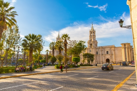 Old church in Arequipa, Peru, South America. Arequipas Plaza de Armas is one of the most beautiful in Peru.