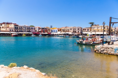 rethymno: Old  venetian harbor in Rethymno, Crete, Greece